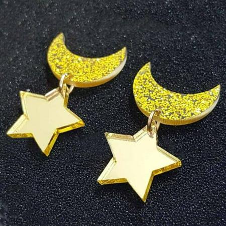 Fancyleo 1pair Creative Moon Star Earrings Ear Clips Women Girls Cute Gift Summer Earring