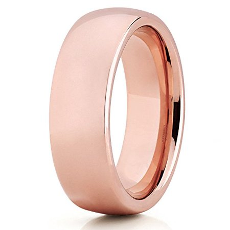 - Silly Kings 7mm Rose Gold Tungsten Carbide Wedding Ring Dome Polish Handmade Unisex Band