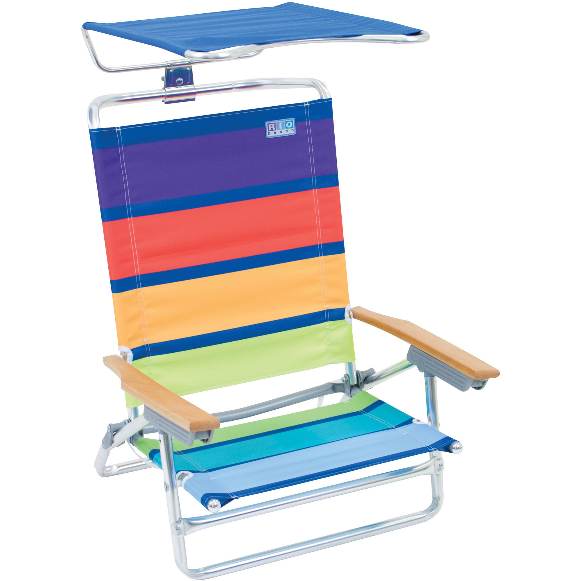 Rio Clic 5 Position High Back Beach Chair With Adjule Canopy