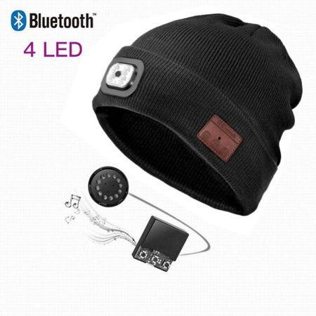 Wireless Bluetooth Beanie Hat with Detachable Stereo Speakers & Microphone, Fleece-lined Unisex Music Beanie for Outdoor Sports, Basic Knit Basic Hat Knitting Pattern
