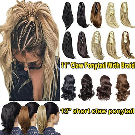 S-noilite 11-12 Inch Long Short Claw Ponytail Hair Extension One Piece Cute Clip in on Ponytail Jaw Claw braiding Drawstring Synthetic Straight Curly natural black , 11
