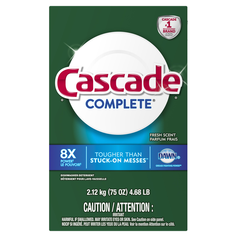 Cascade Complete Powder Dishwasher Detergent, Fresh Scent, 75 ounces