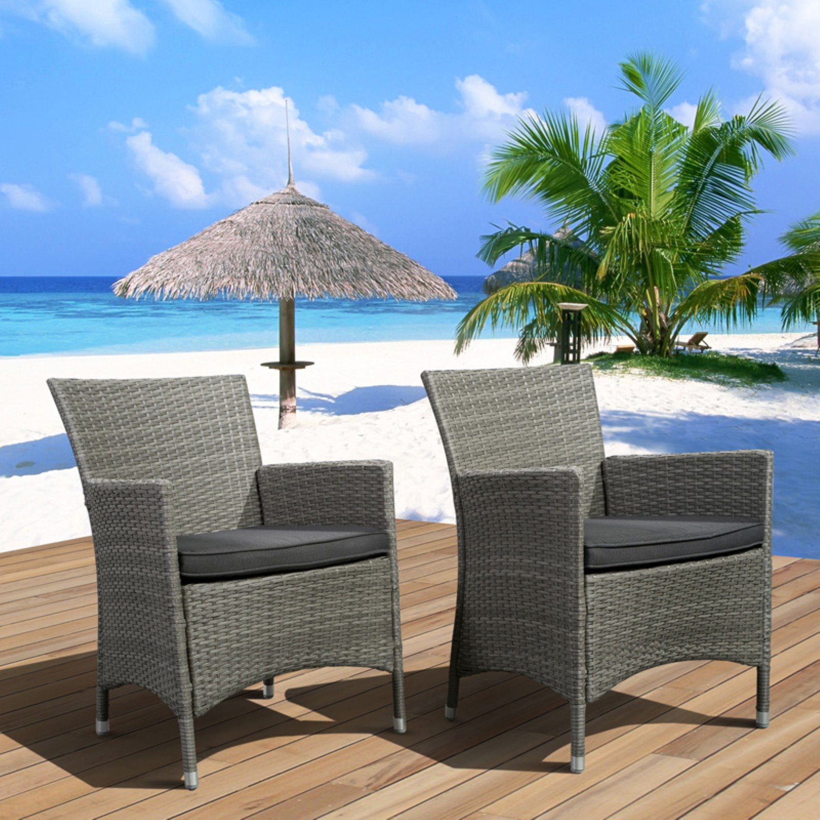 Atlantic Liberty All-Weather Wicker Deluxe Patio Dining Chair - Set of 2