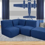 Tween Foam Corner Chair & Ottoman - Merino Lapis