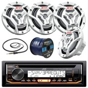"""JVC KD-R99MBS Marine Boat Yacht Radio Stereo CD Player Receiver Bundle Combo With 4x JVC CS-DR6201MW 100-Watt 6.5"""" 2-Way Coaxial Speakers + Enrock Radio Antenna + 50 Foot 16g Speaker Wire"""