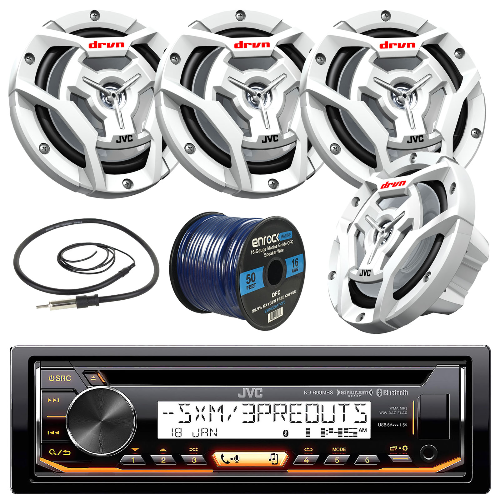 "JVC KD-R99MBS Marine Boat Yacht Radio Stereo CD Player Receiver Bundle Combo With 4x JVC CS-DR6201MW 100-Watt 6.5"" 2-Way Coaxial Speakers + Enrock Radio Antenna + 50 Foot 16g Speaker Wire"