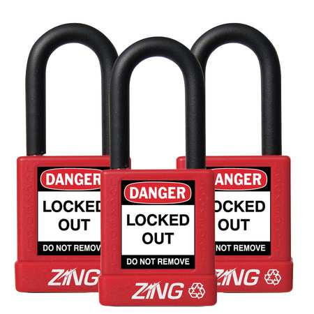 ZING 7062 Lockout Padlock, KA, Red, 1/4 In., PK3