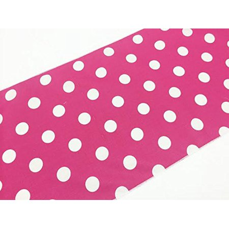Decorative Cotton White Polka Dots On Fuchsia Print Table Runner  12   X 90   By Artofabric