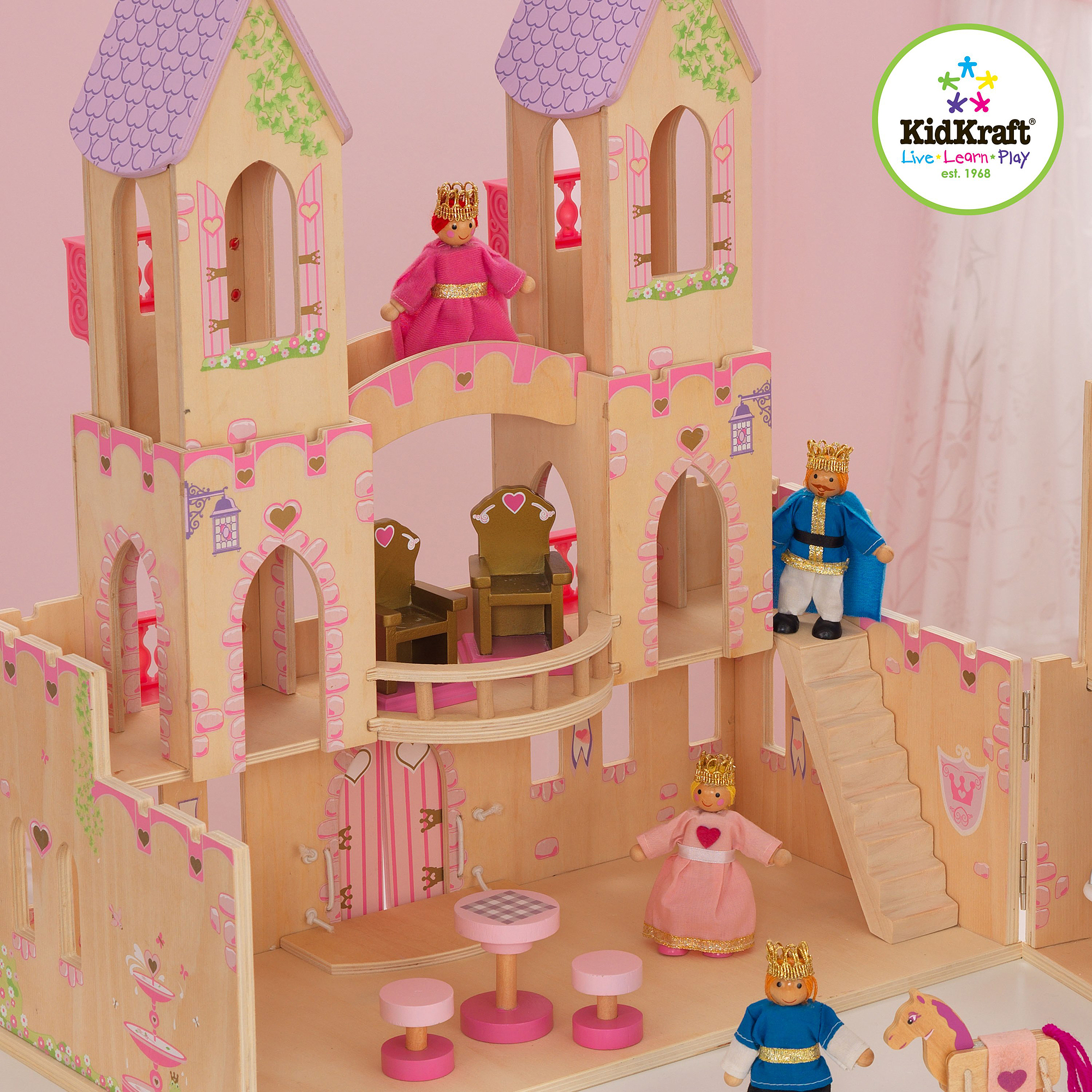 kidkraft princess castle wooden dollhouse with 14 play pieces walmartcom - Painted Wood Castle 2015