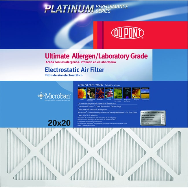 Dupont Platinum Performance AF-P1020 Air Filter, 20 in L x 10 in W x 1 in T