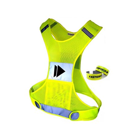 Reflective Running Vest with Pocket - New Super Bright Technology - Best High Visibility Safety for Jogging, Cycling, Sports & Dog Walking - with 2 Hi Vis Arm / Leg Bands - Fits Women, Men &