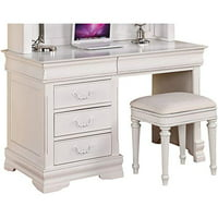 Benzara Three Drawer Computer Desk With Raised Bead Detail Finials And Bun Feet, White