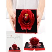 3D Rose Ring Box Wedding Engagement Jewelry Storage Holder Case Bump