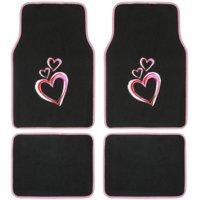 BDK Pink Hearts Design Car Floor Mats, 4 Pieces Front and Rear