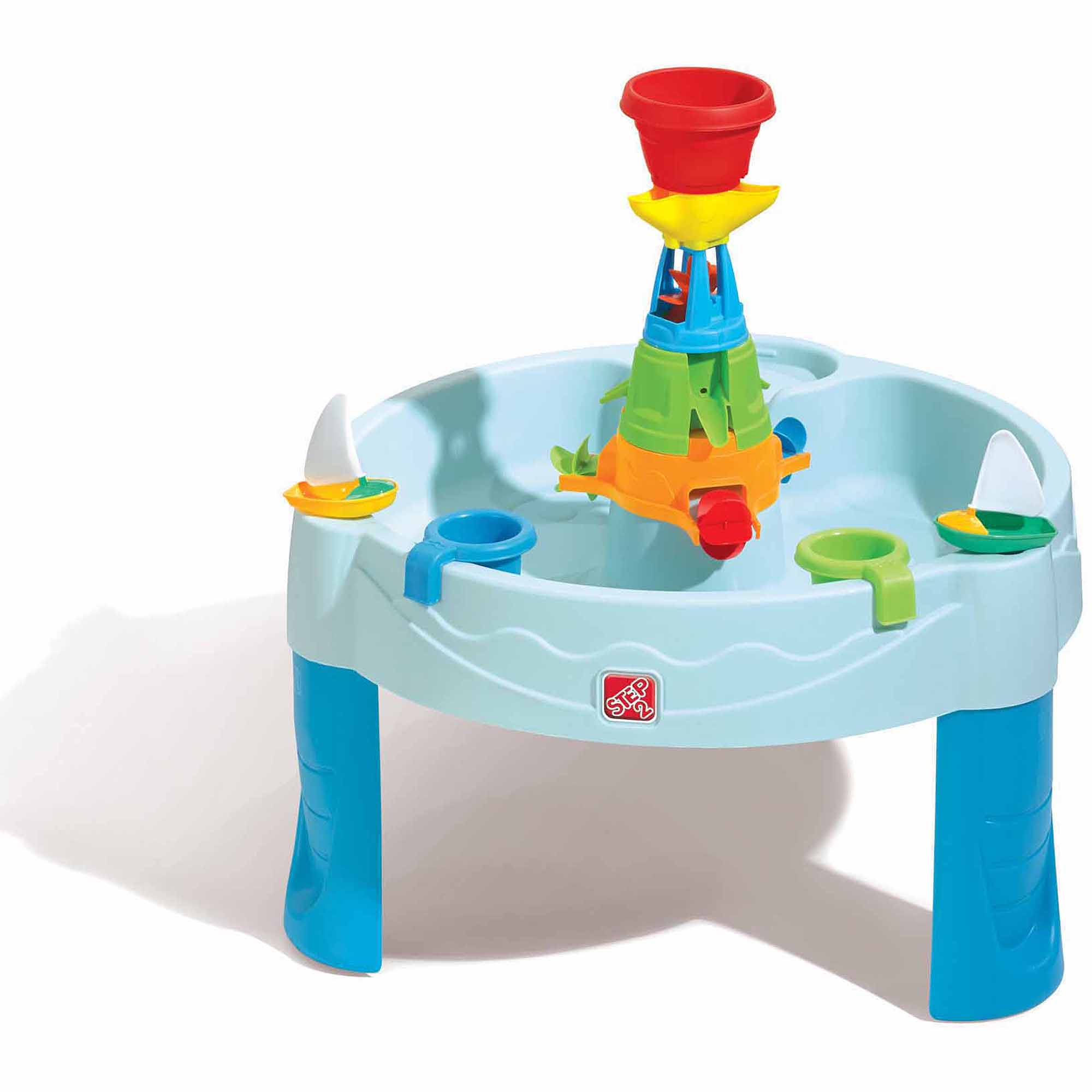 step2 water works play table includes 2 cups and 2 sailboats