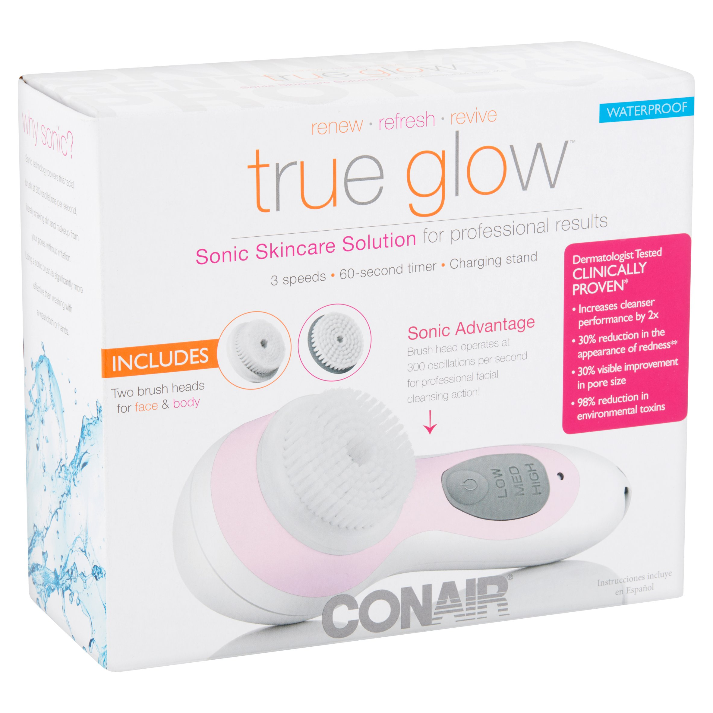 Conair True Glow Sonic Skincare Solution Brush, 4 pc - Walmart.com