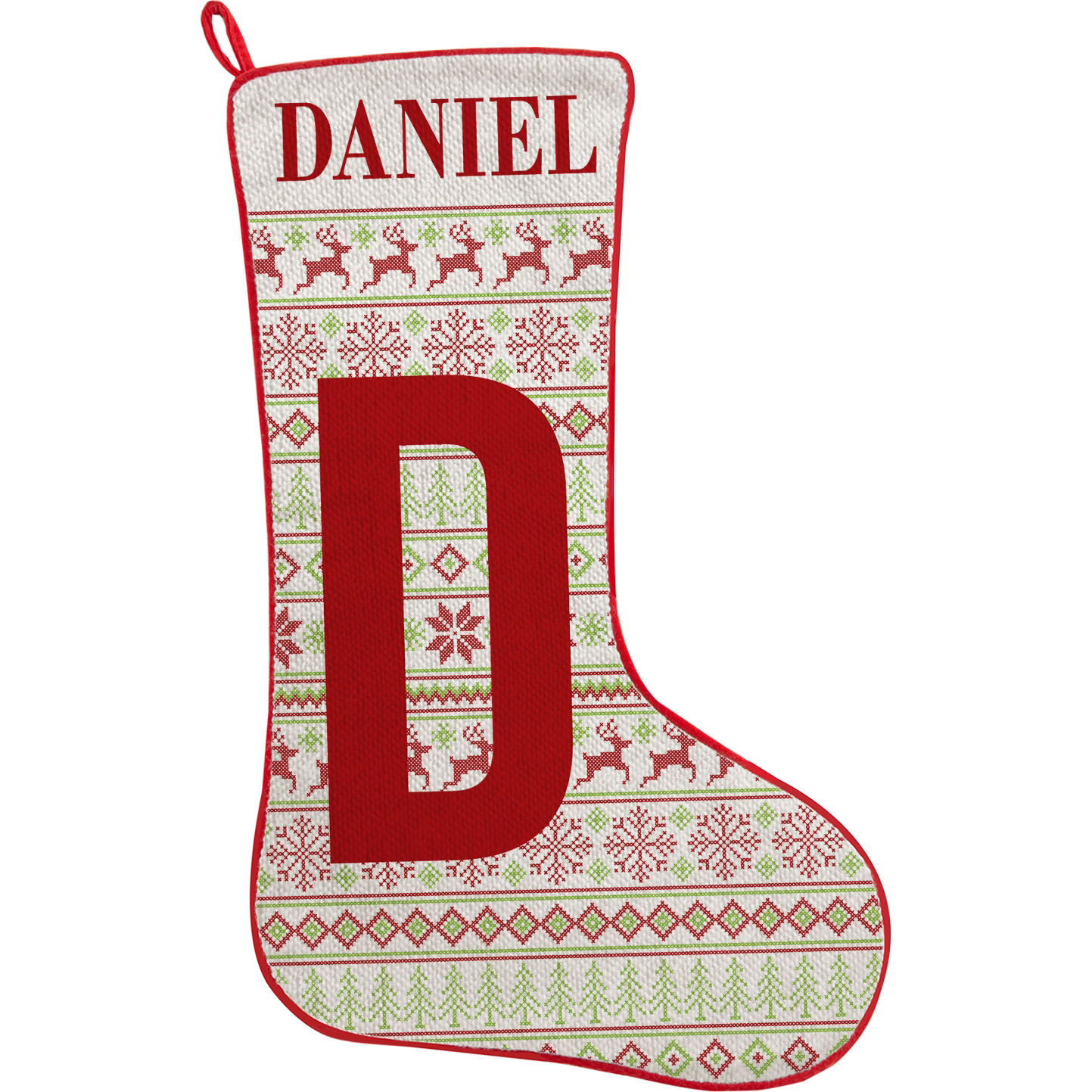 Personalized Initial Christmas Stocking - Available in 3 Patterns ...