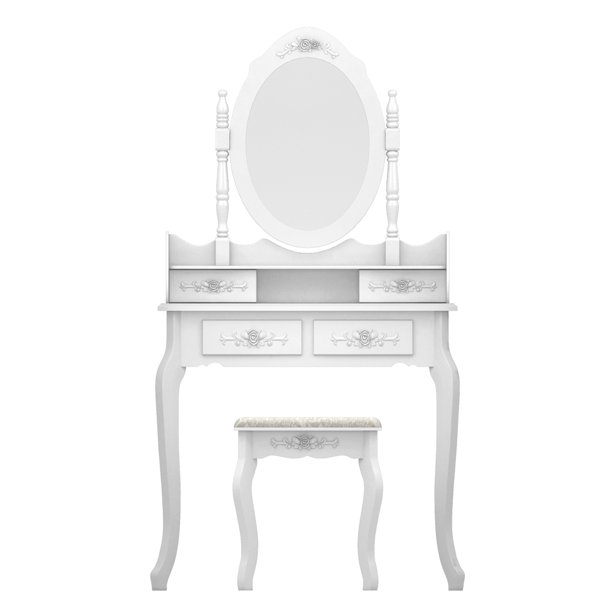 Vanity Desk For Makeup Segmart, Rotation Removable Mirror Dressing Vanity Table Makeup Desk With Stool White
