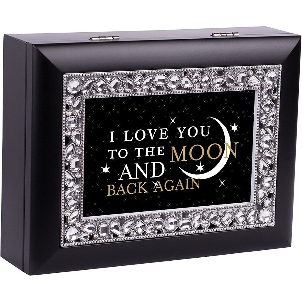 Cottage Garden JM326B Love You To The Moon And Back Jeweled Black Keepsake Music Box plays Wind Beneath My Wings by Cottage Garden