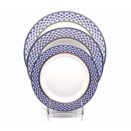 Place Setting 3-pcs, Lomonosov Porcelain, Russian Cobalt Blue Net, 24K Gold - Place Settings Ideas