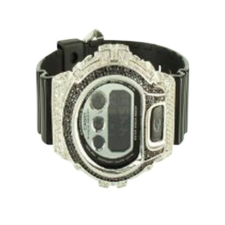 - G Shock DW6900NB Black Band With White Simulated Diamond Iced Bezel Watch New