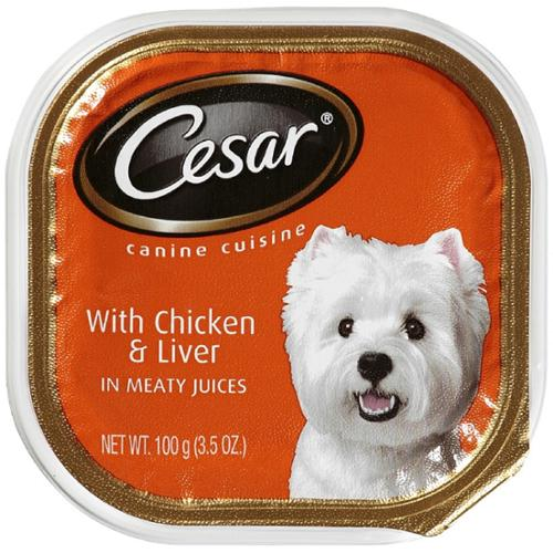Cesar Canine Cuisine with Chicken & Liver in Meaty Juices 3.50 oz (Pack of 4)