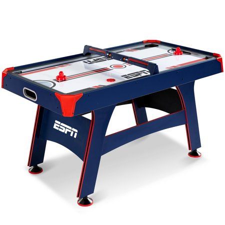 ESPN 60 Inch Air Powered Hockey Table with Overhead Electronic Scorer, Blue/Red
