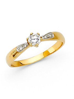 14K Solid Gold Polished Cubic Zirconia Round Cut Wedding Engagement Ring with Side Stones, Size 5