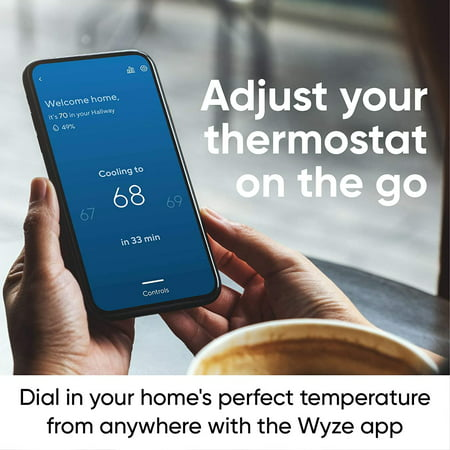 WYZE Smart Wifi Thermostat for Home with App Control Works with Alexa and Google Assistant, Black