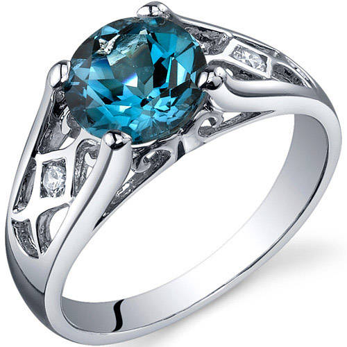 Oravo 1.50 Carat T.G.W. London Blue Topaz Solitaire Rhodium over Sterling Silver Ring