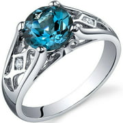 1.5 ct Round London Blue Topaz Solitaire Ring in Sterling Silver