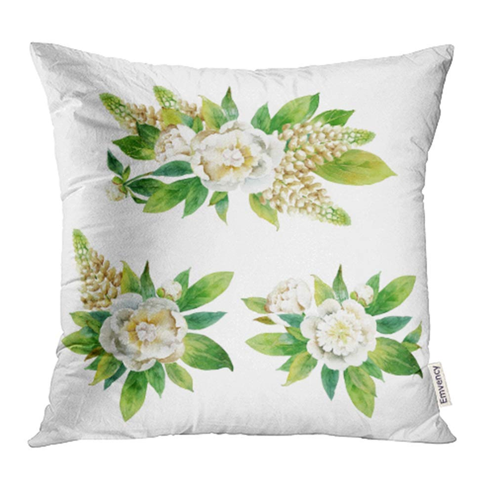 Arhome Green Flower Boutonnieres With Peony And Lupine White Watercolor Aquarelle Pillowcase Cushion Cover 20x20 Inch Walmart Com Walmart Com