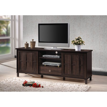 Baxton Studio Unna 70-Inch Dark Brown Wood TV Cabinet with 2 Sliding Doors and Drawer ()