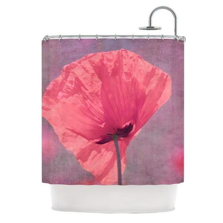 Kess InHouse Iris Lehnhardt Poppy Pink Flower Shower Curtain 69x70
