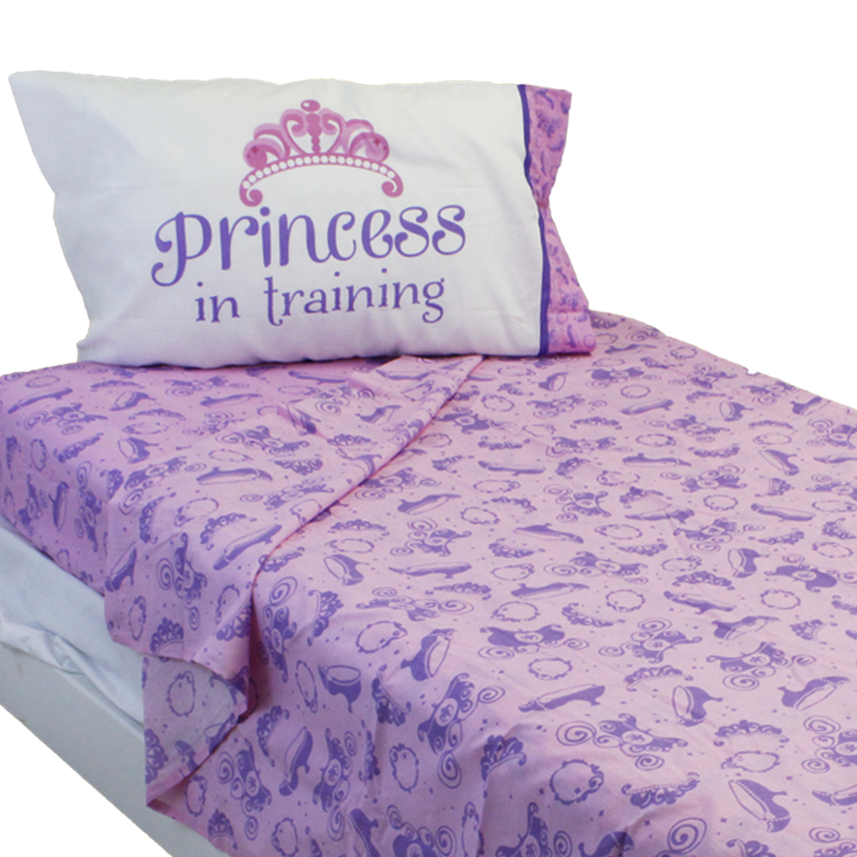 3pc Disney Sofia the First Twin Sheet Set Princess in Training Scrolls Bedding Accessories