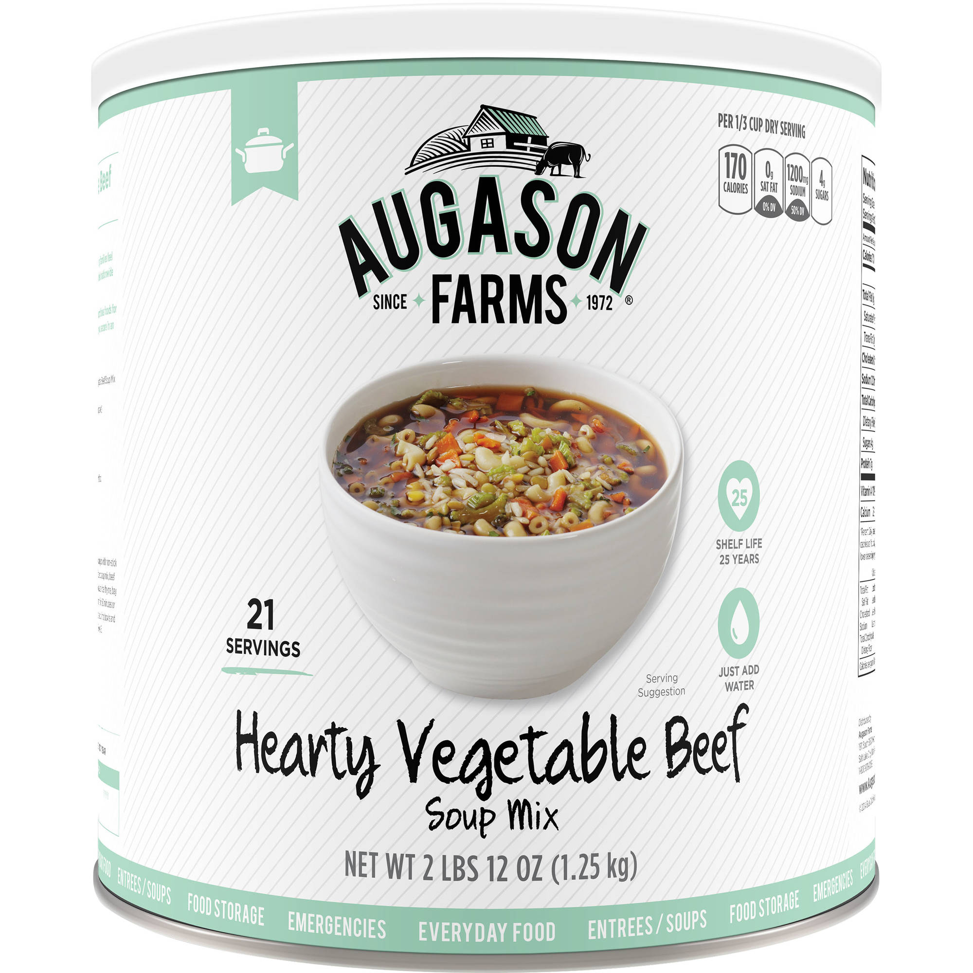Augason Farms Emergency Food Hearty Vegetable Beef Soup Mix, 44 oz