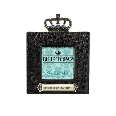 Queen of Everything Blue Topaz Crown Embellished High Gloss Ceramic Black Crocodile Frame, Gift box By Grasslands (Gloss Black Fade Frame)