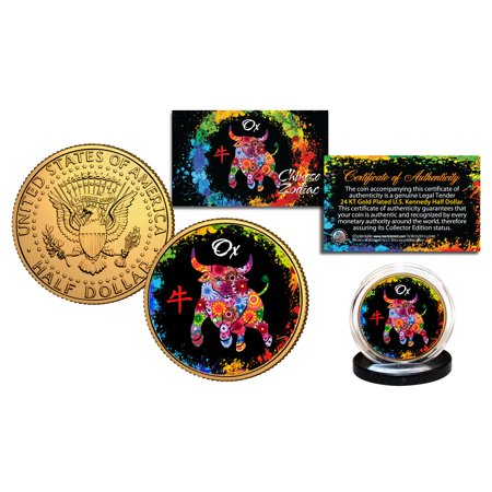 Chinese Zodiac PolyChrome Genuine JFK Half Dollar 24K Gold Plated Coin -