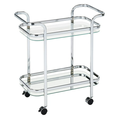 Tie Bar Car (2 Tier Chrome/Glass Bar Cart)