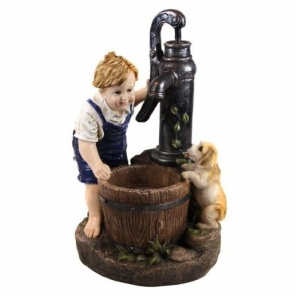 Gxt469 26 Inch Boy And Water Pump Fountain With Led Light by Benzara