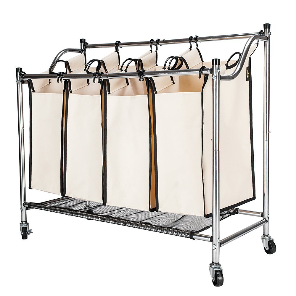 Ktaxon Heavy-Duty 4-Bag Rolling Laundry Sorter Cart Sorting Hamper with Removable Bags & Wheels, Chrome/Beige