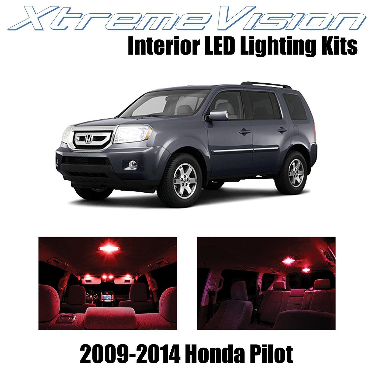 XtremeVision LED for Honda Pilot 2009-2014 (16 Pieces) Red Premium Interior LED Kit Package + Installation Tool