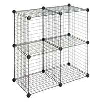 "Whitmor Storage Cubes - Stackable Interlocking Wire Shelves - Set of 4 - Black - 14.25"" x 14.5"" x 14.5"""