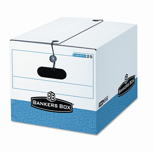 Fellowes Mfg. Co. Storage Box, Legal/Letter, Tie Closure, White/Blue, 4/Ctn