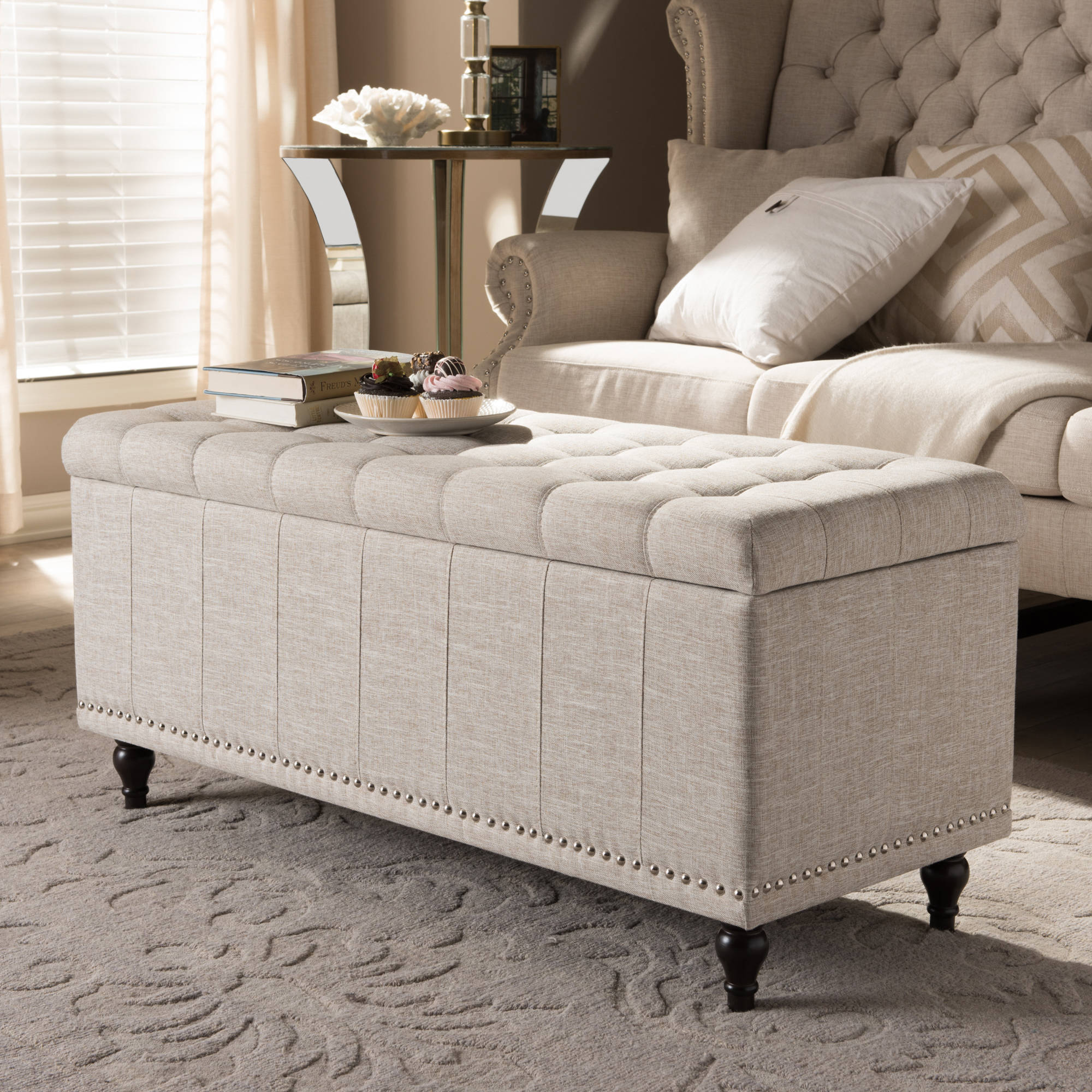 Incredible Baxton Studio Kaylee Modern Classic Beige Fabric Upholstered Button Tufting Storage Ottoman Bench Gmtry Best Dining Table And Chair Ideas Images Gmtryco