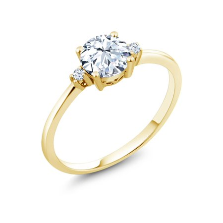 10K Yellow Gold Engagement Solitaire Ring set with 1.23 Ct Round Hearts and Arrows White Created Sapphires