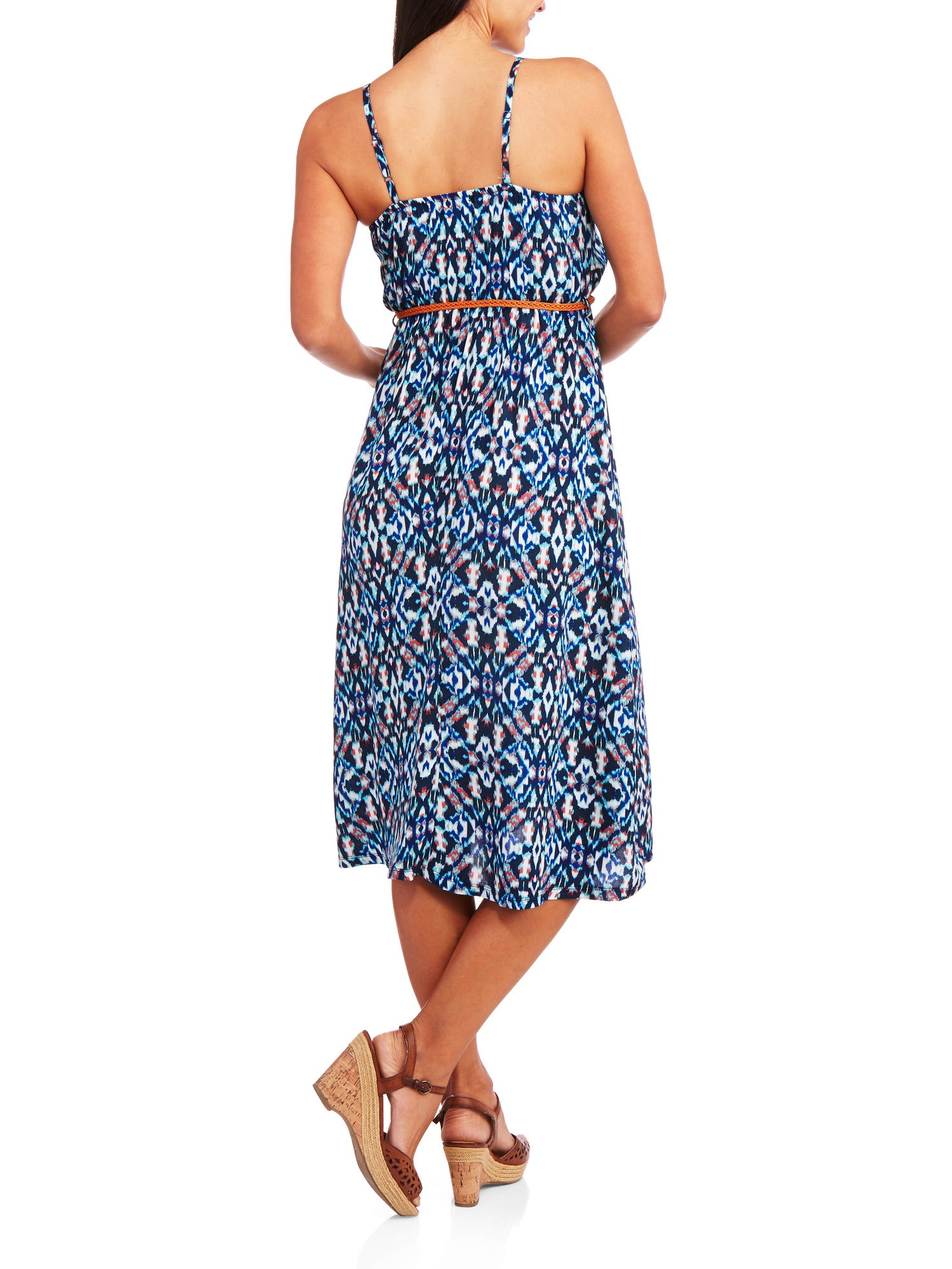 6a64e0ca3cd0 French Laundry - Women s 70s-Inspired Belted Woven Midi Dress - Walmart.com