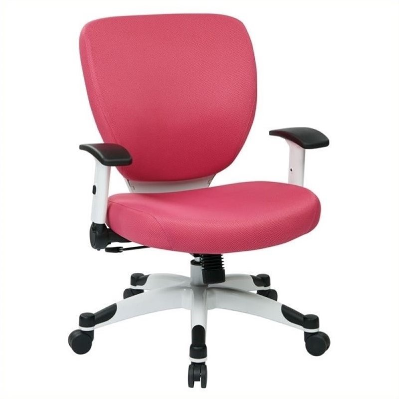 Scranton & Co Padded Mesh Office Chair in Pink