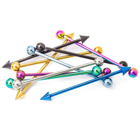 - 10 Industrial Piercing Barbells - Anodized Titanium Piercing Bars - 14G 1.5