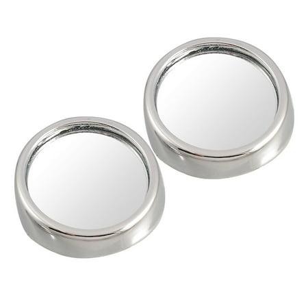 Car Silver Tone 40mm Stick on Rearview Blind Spot Mirror 2 Pcs